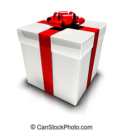 Gift box. - An illustration of a white gift box with a red...