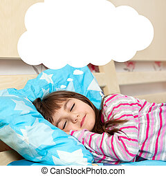 girl sleeping in bed - little girl asleep in her bed and...