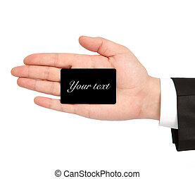 isolated hand of a businessman in a suit holding a black...
