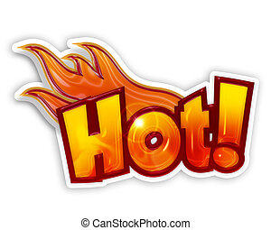 cartoon hot with flames isolated on white background