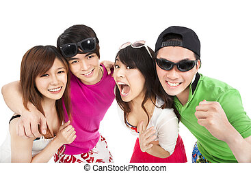 happy young group laughing