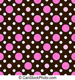 Pink, White and Brown Polka Dot Fabric Background - Pink,...