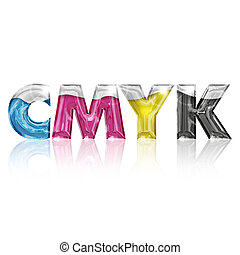 transparent letters cmyk isolated on white background