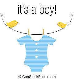 Baby Boy Onesie - An image of a baby boy blue onesie hanging...