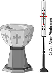 Baptismal font and paschal candle - Stone baptismal font and...