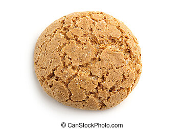 traditional italian almond cookie on white background