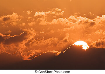 sundown - the beautiful orange sundown background