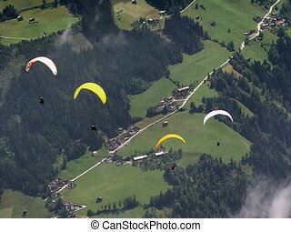 paraglider crossing No visibel signs, logos or faces