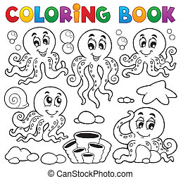 Coloring book octopus theme 1 - eps10 vector illustration