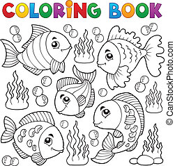 Coloring book various fish theme 1 - eps10 vector...