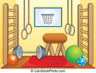 Sport, gymnastiksal, tema, avbild, 1
