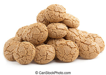 pyramid of almond cookies on white background