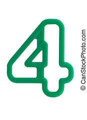 Plastic alphabet letter number 4 on white background with...