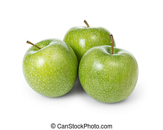 three fresh green granny smith apples, isolated