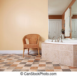 bathroom - wicker chair in bathroom wiht nice bath and...