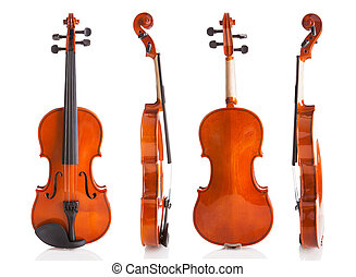 Vintage Violin From Four Sides Isolated On White Background