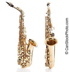 primer plano, de, trompeta