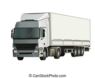 Semi-trailer truck, detailed and realistic vector...
