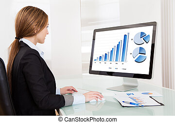 Business Analyst Woman Working On Computer In The Office