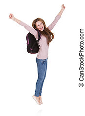 Portrait Of Happy Female Student Isolated Over White...