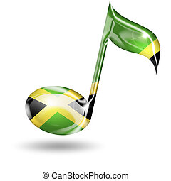 musical note with jamaican flag colors on white background