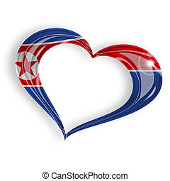 heart with north korean flag colors on white background