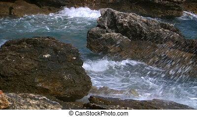 heavy waves on rocks