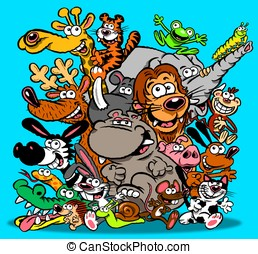 Animals cartoon - Cartoon of lots of different animals Blue...