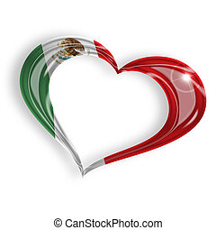 heart with mexican flag colors on white background