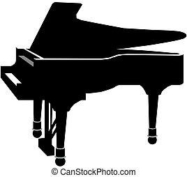 鋼琴, 黑色半面畫像, 插圖