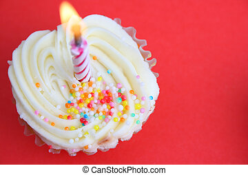 Cup Cakes - Vanilla Cupcake with sprinkles and one candle