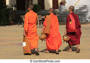 Buddhist monks walking in the courtyard of Wat Ounalom,...