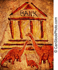 prehistoric bank with dinosaurs digital illustration