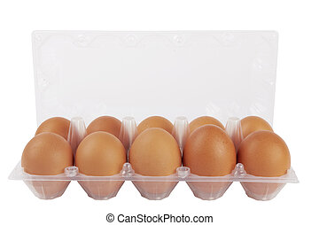 Eggs in plastic box isolated