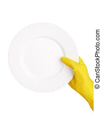 rubber glove - Hand in rubber glove with a plate on a white...