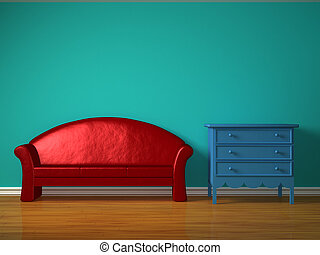 Red sofa with blue bedside table in kids room