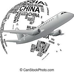 world airplane - illustration set of airplane around the...