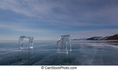 Winter timelapse - Baikal lake in Siberia, slider shoot