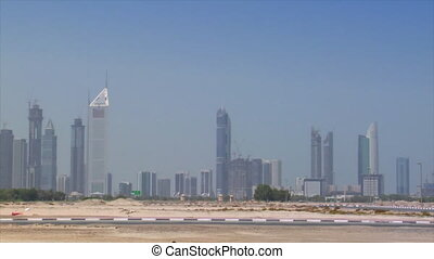 black jeep crossing dubai skyline