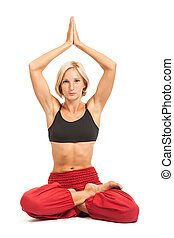 Full set of yoga asanas. Lotus. Practicing Yoga. Young woman in traditional yoga clothes isolated on white background