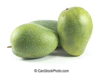 Green mangoes isolated on white background - Three green...