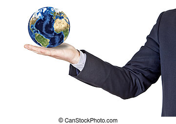 businessman holding the earth in his hand isolated on a...
