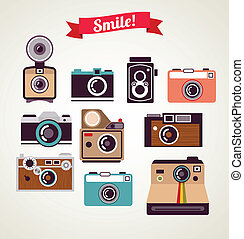 old vintage camera set - old vintage hipster camera set,...