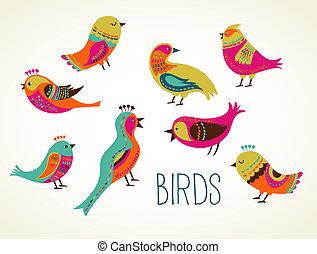 dekoratív, csinos, állhatatos, madarak