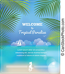tropical paradise vector background - tropical paradise,...