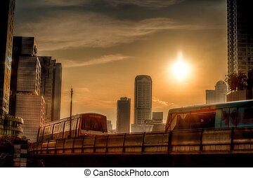 HDR sunset at Chong Nontri Sathorn with skytrain