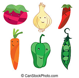 vegetables cartoon - Is an illustration in EPS file