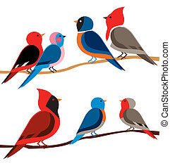 birds in diferent colors - Is an illustration in EPS file