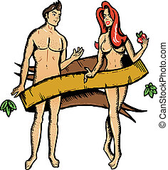 Adam and eve tattoo style vector illustration - Acorn and...