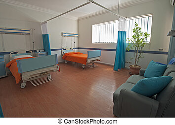 Beds in a hospital ward - Hospital beds in a private...